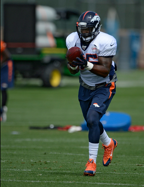 . Denver Broncos outside linebacker Lerentee McCray (55) catches a pass in drills during practice August 26, 2014 at Dove Valley.(Photo by John Leyba/The Denver Post)