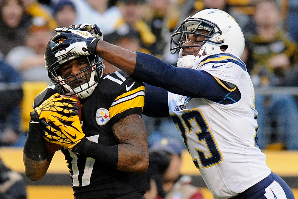 Description of . Pittsburgh Steelers wide receiver Mike Wallace (17) makes a touchdown catch past San Diego Chargers cornerback Quentin Jammer (23) in the third quarter of an NFL football game on Sunday, Dec. 9, 2012, in Pittsburgh. (AP Photo/Don Wright)