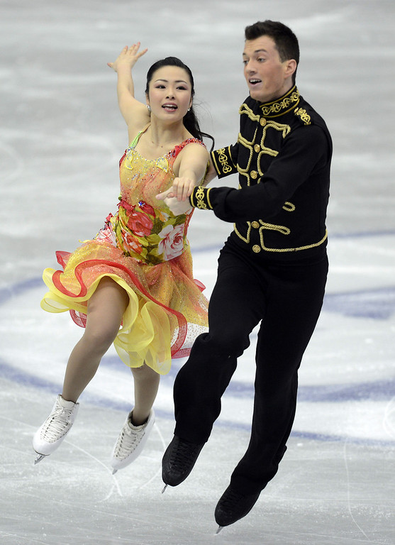 . Emi Hirai and Marien De La Asuncion of Japan skate in the Ice Dance Short Dance during day one of the ISU Four Continents Figure Skating Championships at Osaka Municipal Central Gymnasium on February 8, 2013 in Osaka, Japan.  (Photo by Atsushi Tomura/Getty Images)