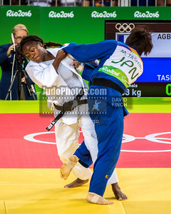 RIO DE JANEIRO, BRAZIL, AUGUST 09: Clarisse Agbegnenou of France, here attacking, defeated Miku Tashiro of Japan by a shido (penalty) to reach the u63kg (light-middleweight) final during day 4 of the 2016 Rio Olympic Judo on Tuesday, August 09 at the Carioca Arenas, Barra, Rio de Janeiro, Brazil. (Photo © by David Finch. All rights reserved. Including image always credited to David Finch)Clarisse Agbegnenou;Miku Tashiro