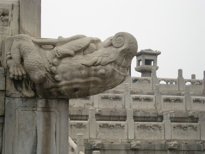 Stone dragon carvings.