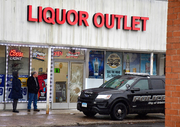 2/11/2020 Mike Orazzi | Staff Bristol Police on scene at the Liquor Outlet on Riverside Avenue after an overnight burglary occurred.
