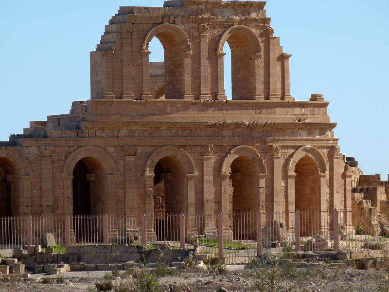 Side view of the Theatre at Sabratha.