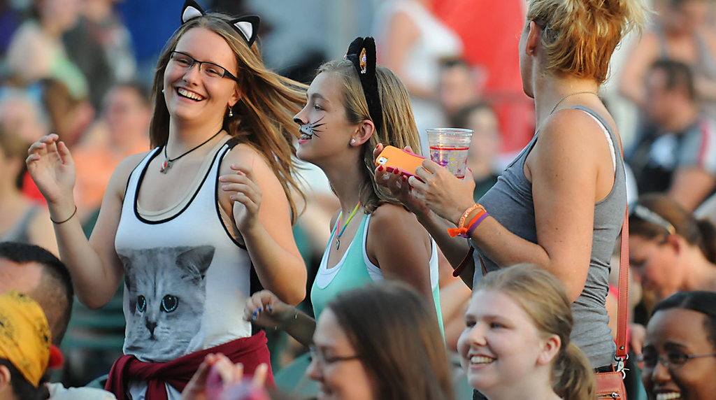 . Young cat fans dance to the off-beat humor of the hip-hop band Koo Koo Kangaroo during the 2013 Internet Cat Video Festival presented by Walker Art Center at the Minnesota State Fair Grandstand, Wednesday, August 28, 2013 in Falcon Heights. (Pioneer Press: John Autey)