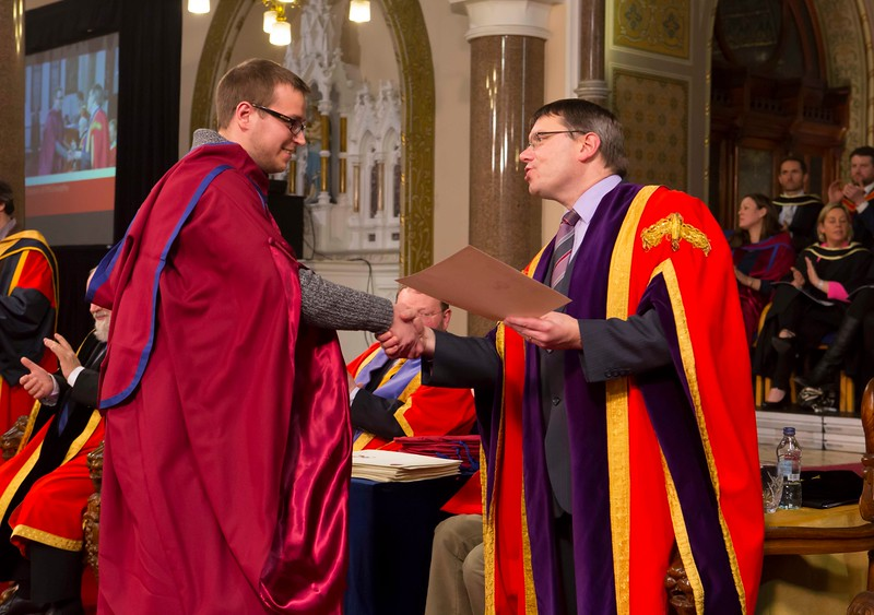 Waterford Institute Of Technology Conferring. Pictured at WIT Waterford Institute Of Technology Conferring is Stepan Ivanov, Russia, who was conferred a Doctor of Philosophy by Dr. Ruaidhrí Neavyn, President WIT. Picture: Patrick Browne