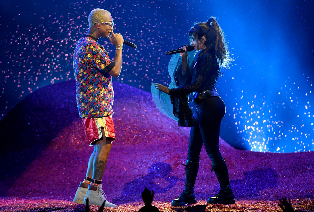 . Pharrell Williams, left, and Camila Cabello perform at the Billboard Music Awards at the MGM Grand Garden Arena on Sunday, May 20, 2018, in Las Vegas. (Photo by Chris Pizzello/Invision/AP)