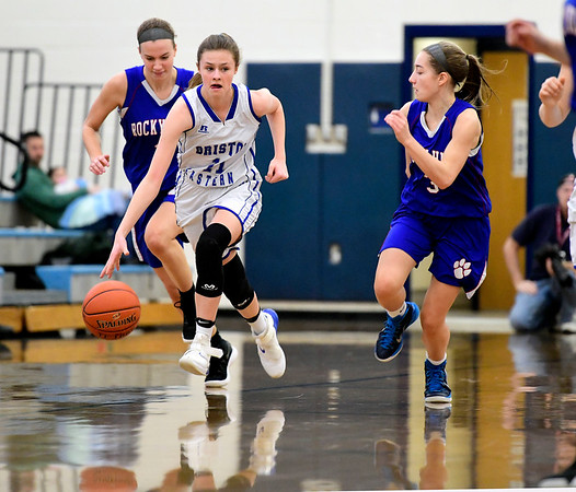 2/9/2019 Mike Orazzi | Staff Bristol Eastern's Ciara Collins (11) during Saturday's girls basketball game with Rocky Hill in Bristol.