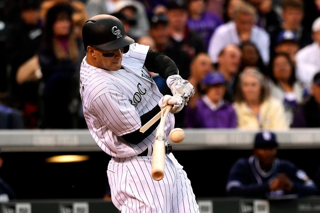 . Brandon Barnes (1) of the Colorado Rockies splits his bat against the San Diego Padres at Coors Field. April 09, 2016 in Denver, CO. (Photo By Joe Amon/The Denver Post)