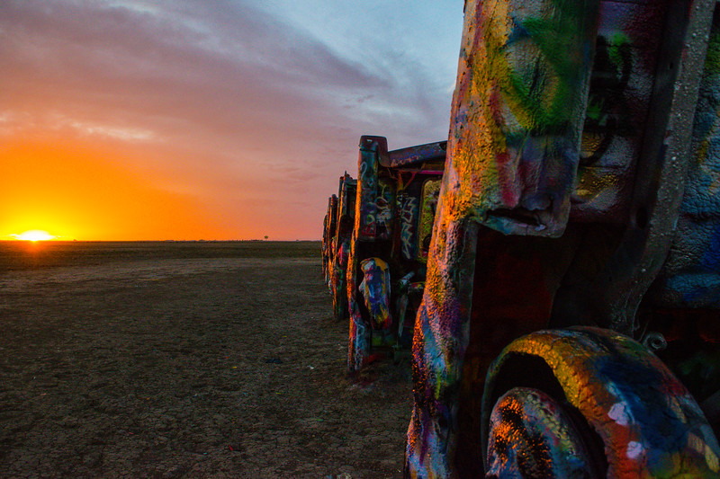 Golden Sunset at Cadillac Ranch