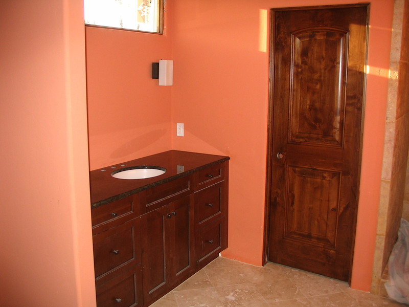 Master bath, looking toward the toilet, with the shower at the far right.