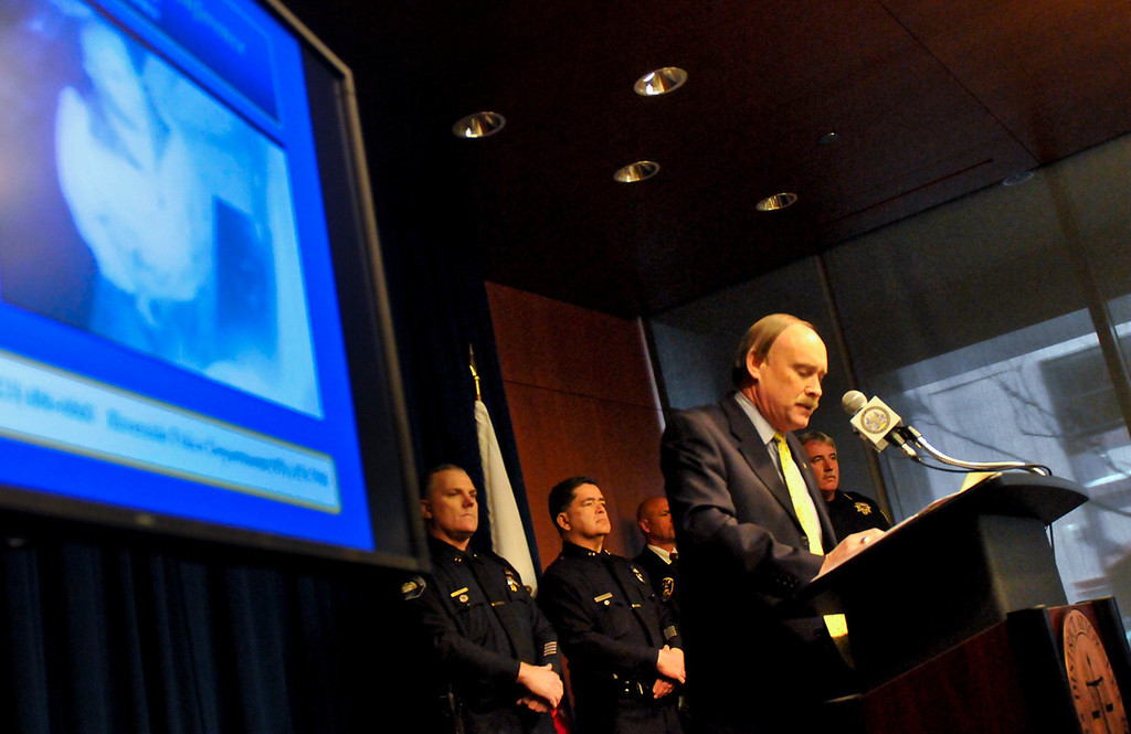 . Riverside County District Attorney Paul Zellerbach gives he latest updates in the search for fugitive ex-LAPD officer Christopher Dorner at a press conference at the D.A.\'s office in Riverside on Monday, Feb. 11, 2013. (Rachel Luna / Staff Photographer)