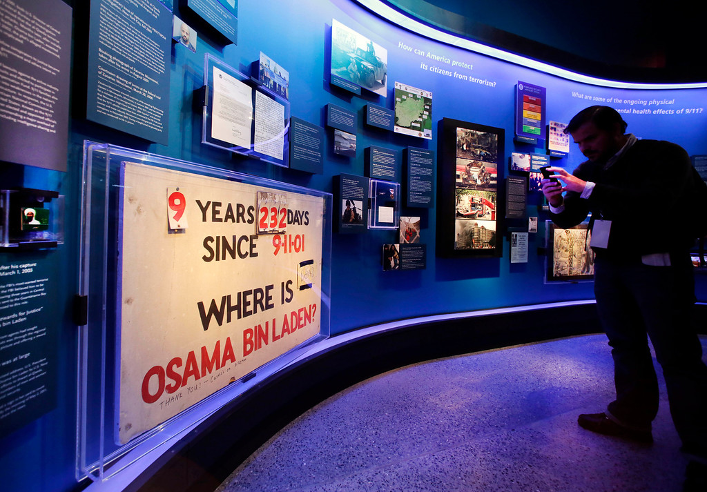 . A sign tracking the time Osama Bin Laden was at large is displayed at the National Sept. 11 Memorial Museum, Wednesday, May 14, 2014, in New York.   (AP Photo)