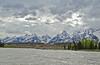 Grand Teton range, as seen from Snake River float trip.