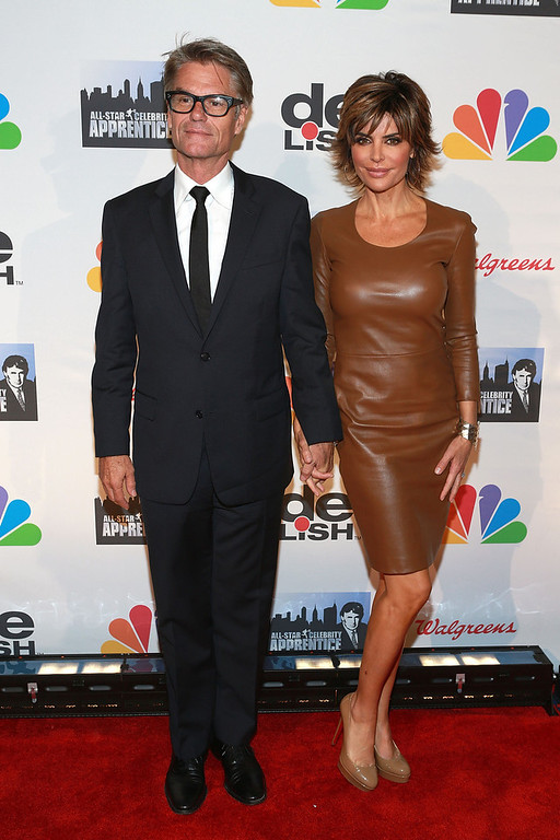 """. Harry Hamlin (L) and Lisa Rinna attends \""""All Star Celebrity Apprentice\"""" Finale at Cipriani 42nd Street on May 19, 2013 in New York City.  (Photo by Robin Marchant/Getty Images)"""
