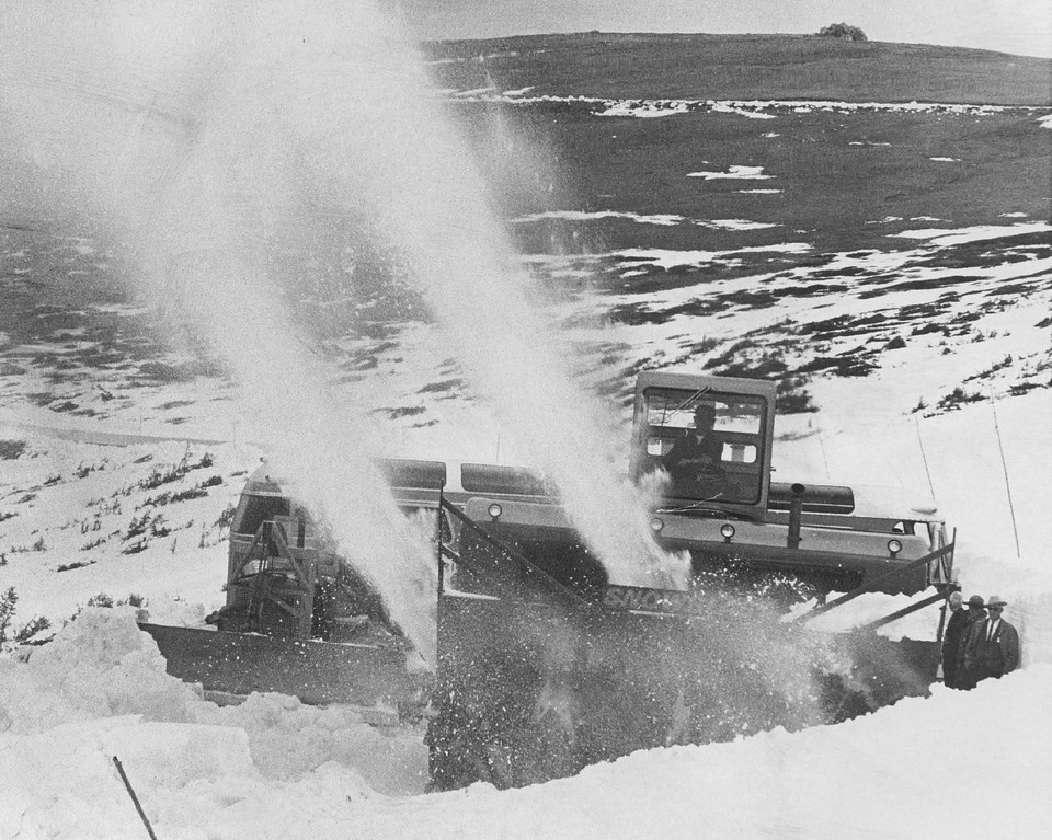 """. The \""""Snowblast\"""" is at work on Snow Removal in Rocky Mountain National Park. The test of the Denver-manufactured machine was made at 12,183 feet on Trail Ridge Road in 1966. (Denver Post Library photo archive)"""