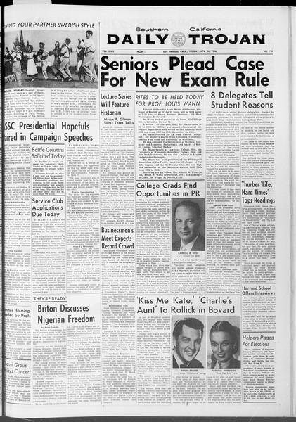 Daily Trojan, Vol. 47, No. 119, April 24, 1956