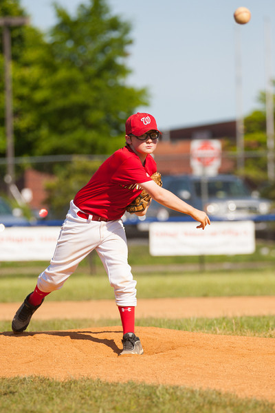 Christopher warming up in the top of the 5th inning. The Nationals struggled on both offense and defense in a 2-11 loss to the Orioles. They are now 7-4 for the season. 2012 Arlington Little League Baseball, Majors Division. Nationals vs Orioles (19 May 2012) (Image taken by Patrick R. Kane on 19 May 2012 with Canon EOS-1D Mark III at ISO 400, f4.0, 1/3200 sec and 210mm)