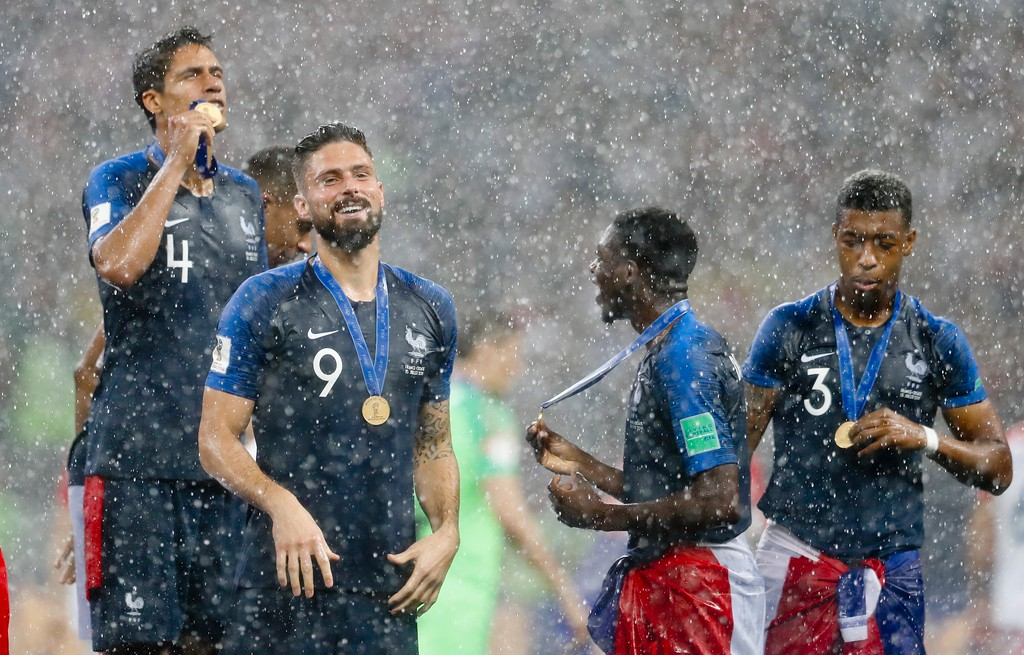 . France players celebrate at the end of the final match between France and Croatia at the 2018 soccer World Cup in the Luzhniki Stadium in Moscow, Russia, Sunday, July 15, 2018. France won 4-2. (AP Photo/Petr David Josek)
