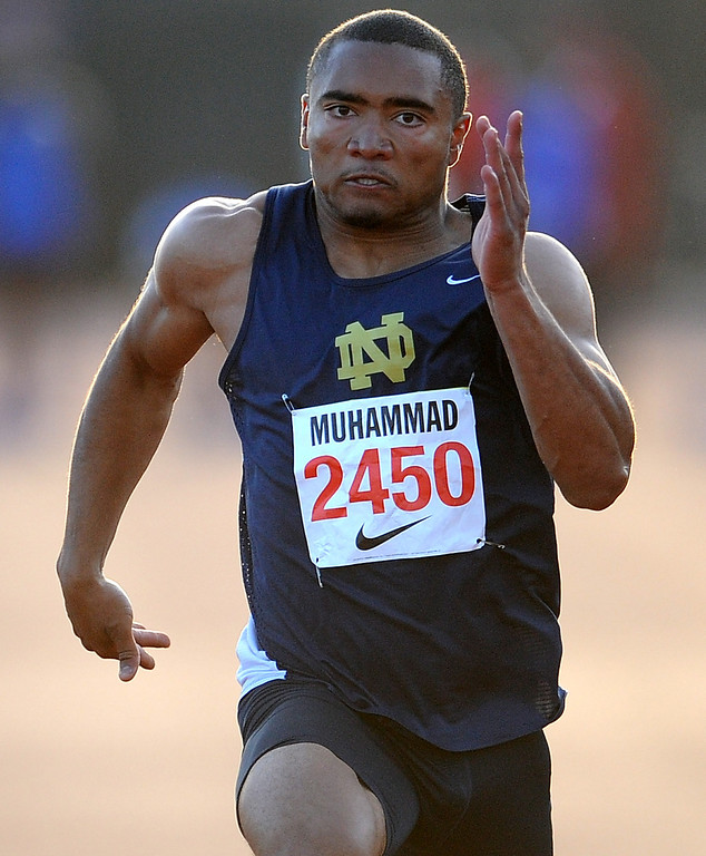 . Notre Dame\'s Khalfani Muhammad won the 100 meter Dash Invitational with a time of 10.46 during the Arcadia Invitational at Arcadia High School on Saturday, April 6, 2013 in Arcadia, Calif.  (Keith Birmingham Pasadena Star-News)