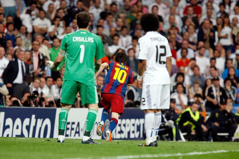 Messi runs to celebrate his second goal, UEFA Champions League Semifinals game between Real Madrid and FC Barcelona, Bernabeu Stadiumn, Madrid, Spain