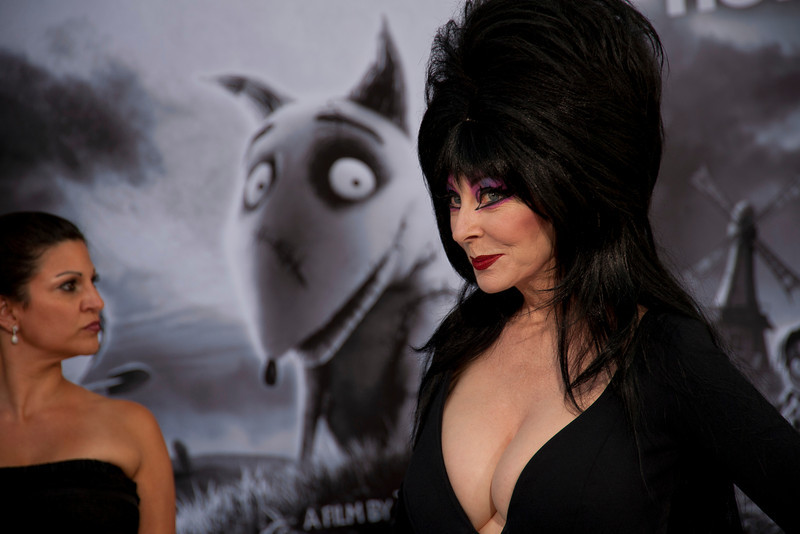 """HOLLYWOOD, CA: Actress Cassandra Peterson """"Elvira, Mistress of the Dark"""" attends the Premiere Of Disney's 'Frankenweenie' at the El Capitan Theatre on Monday, September 24, 2012 in Hollywood, California. (Photo by Tom Sorensen/Moovieboy Pictures)"""