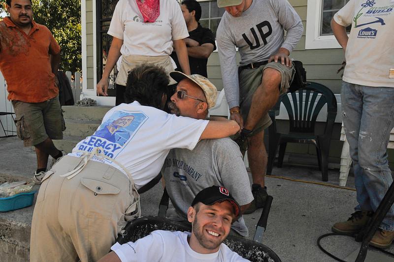 10 09-10  House Leader P.J. Reiner receives hug of affirmation for a job well done. mlj