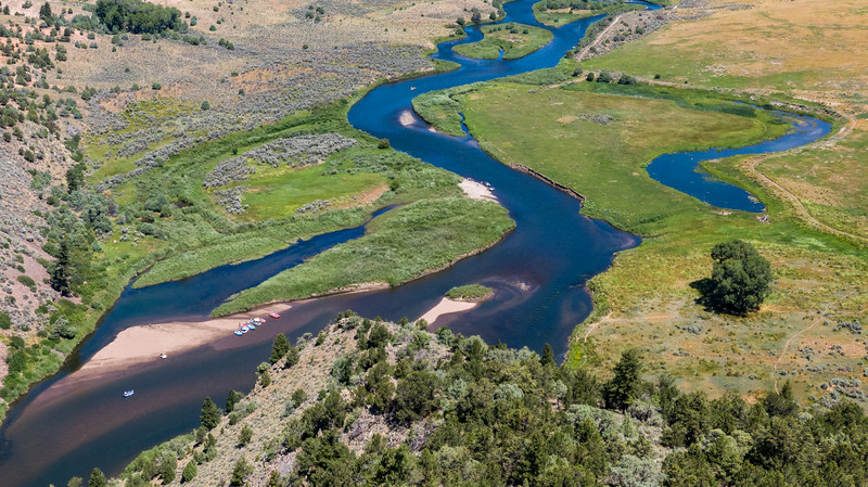 Aerial view of the Colorado River near Radium, Colorado, on August 13, 2019. Photo by Mitch Tobin, The Water Desk.