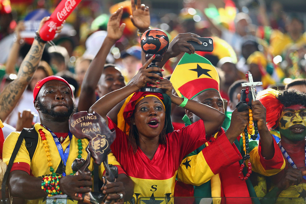 . NATAL, BRAZIL - JUNE 16:  Ghana fans cheer prior to the 2014 FIFA World Cup Brazil Group G match between Ghana and the United States at Estadio das Dunas on June 16, 2014 in Natal, Brazil.  (Photo by Michael Steele/Getty Images)