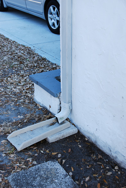 I had to put a pave stone under the gutter downspout.