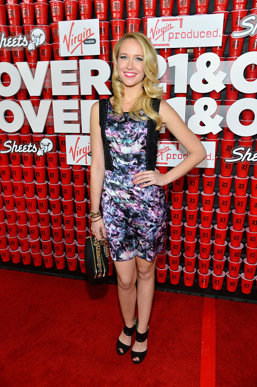 """. Actress Anna Camp attends Relativity Media\'s \""""21 and Over\"""" premiere at Westwood Village Theatre on February 21, 2013 in Westwood, California.  (Photo by Frazer Harrison/Getty Images for Relativity Media)"""