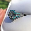 2.23ct Art Deco Emerald Cut and Turquoise Halo Ring 11