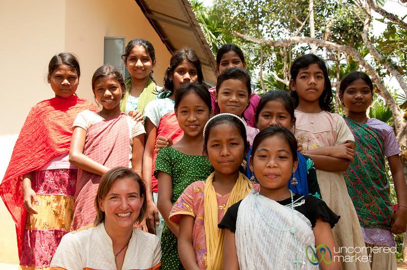 Audrey with Group of School Girls - Khashia Village Near Srimongal, Bangladesh