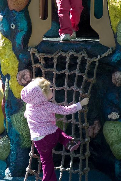 Beverly playing at the aquarium's playground