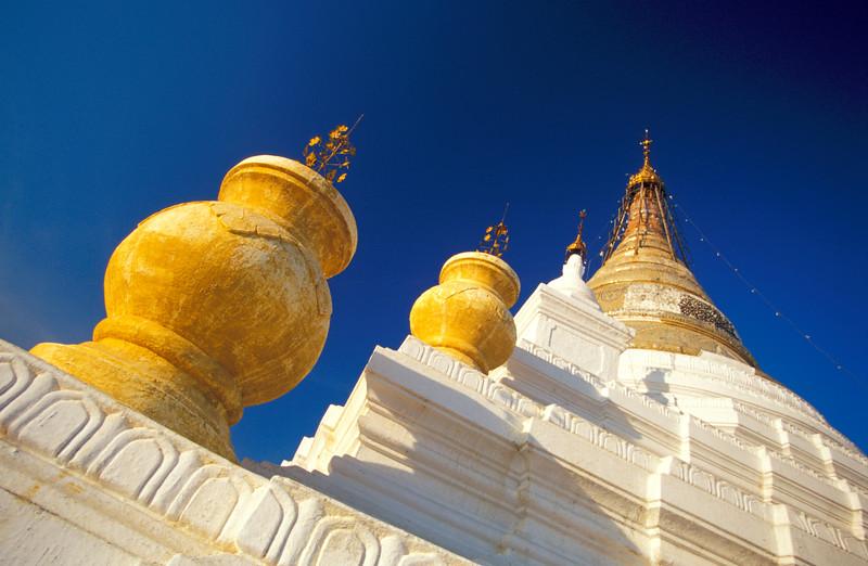 Low-angle view of Kuthodaw Paya (Pagoda) in Mandalay, Burma (Myanmar)