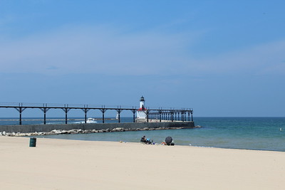 Michigan City beach and lighthouse