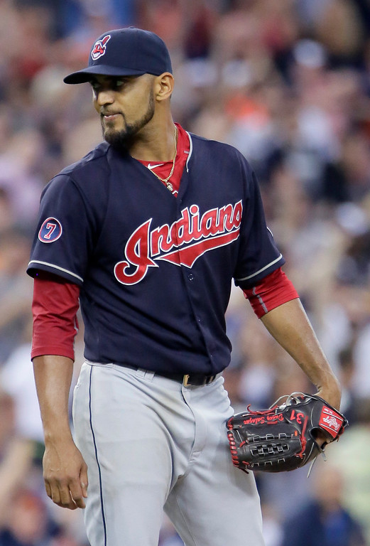 . Cleveland Indians pitcher Danny Salazar looks towards home plate after giving up a three-run home run to Detroit Tigers\' Miguel Cabrera during the sixth inning of a baseball game Friday, June 12, 2015, in Detroit. The Tigers defeated the Indians 4-0. (AP Photo/Duane Burleson)