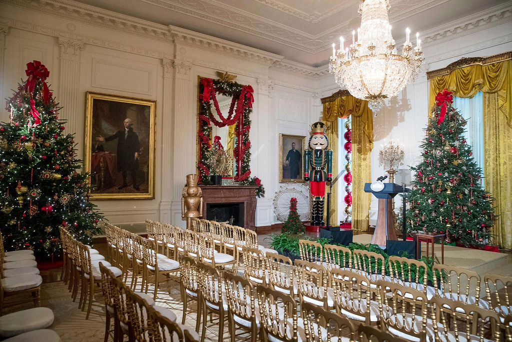 . The East Room is decorated at the White House during a preview of the 2016 holiday decor, Tuesday, Nov. 29, 2016, in Washington. (AP Photo/Andrew Harnik)