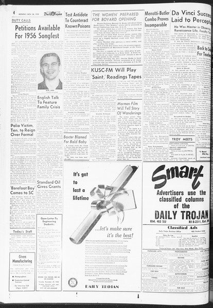 Daily Trojan, Vol. 47, No. 49, November 28, 1955