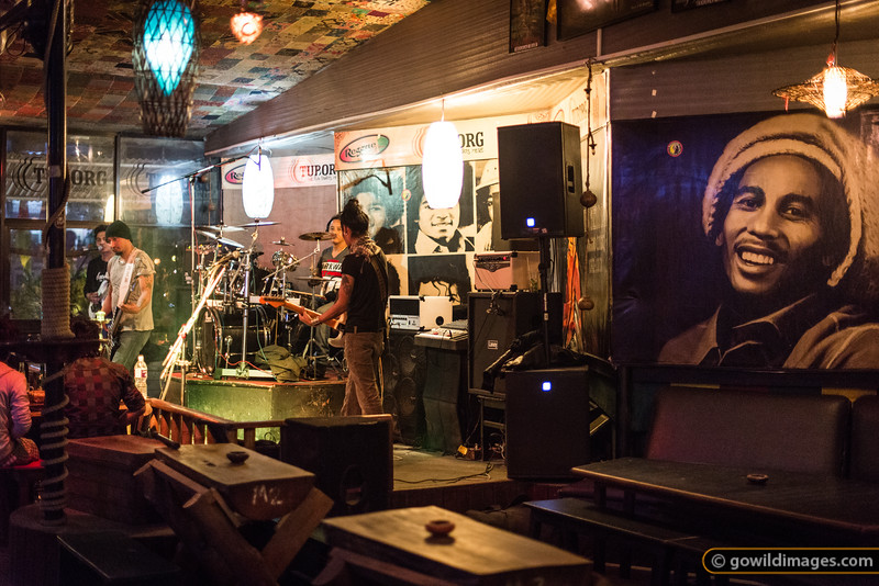 Local band pumps out the tunes at a reggae bar in Thamel. Bob Marley approves!