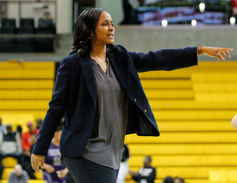 March 15, 2019: Largo coach Ayana Ball-Ward directs her team during MPSSAA girls basketball 1A Semifinal matchup between Pikesville HS and Largo HS in Towson. Photo by: Chris Thompkins/Prince Georges Sentinel