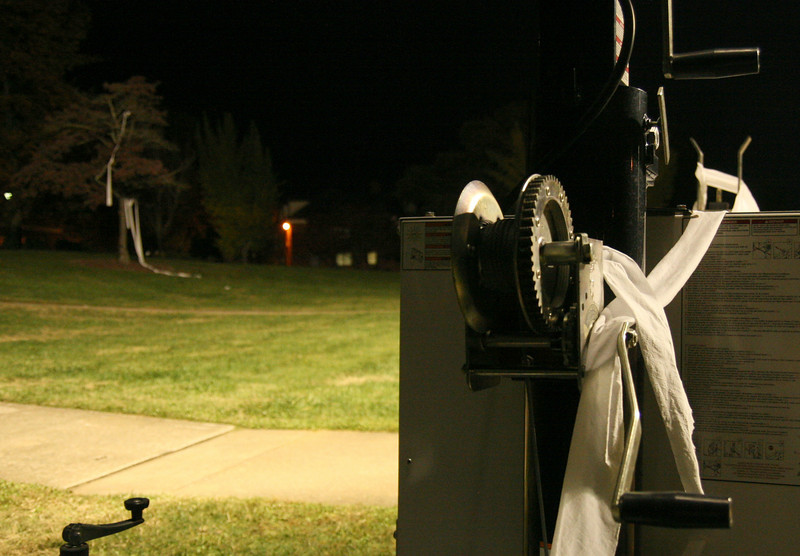 """The base of one of two industrial lights brought in to illuminate the quad ends up """"TPed"""" around midnight Friday night, despite the school's best efforts to keep Homecoming pranks to a minimum."""