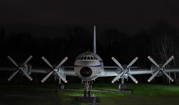 The outdoor exhibits at RAF Cosford under lights Sat 16-03-19