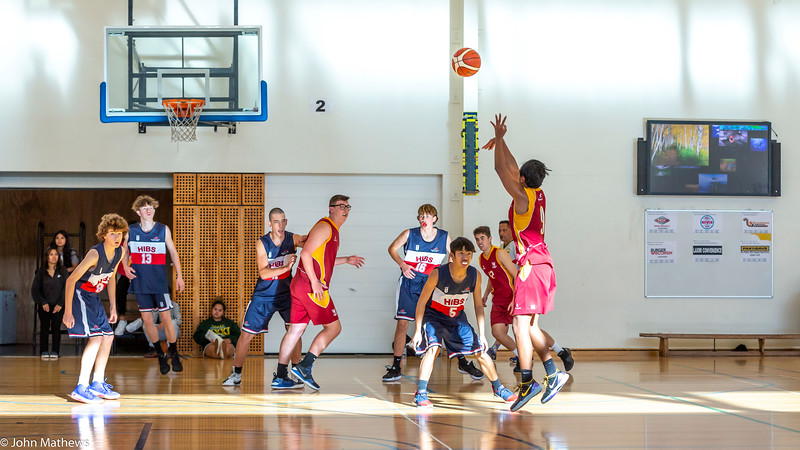 Image taken at the Senior 10th playoff basketball game  between HIBS and Heretaunga College played at the Father Peter Blake Centre for Physical Education and Sport, St Patrick's College, Silverstream, Upper Hutt, New Zealand on 18 April 2021.   Copyright John Mathews 2021.    www.megasportmedia.co.nz