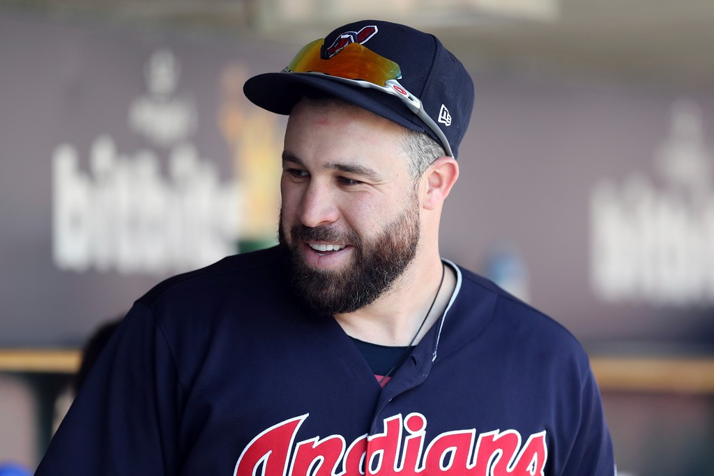 . Cleveland Indians\' Jason Kipnis is seen in the dugout during the seventh inning of a baseball game against the Detroit Tigers, Wednesday, May 16, 2018, in Detroit. (AP Photo/Carlos Osorio)