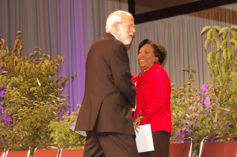 Presiding Bishop Mark S. Hanson greets Phyllis Wallace, chair of the ELCA Church Council Budget and Finance and Finance Committee.
