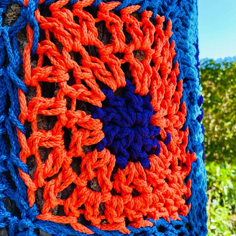 Closeup of a Yarn-Bombed Tree on Long Island