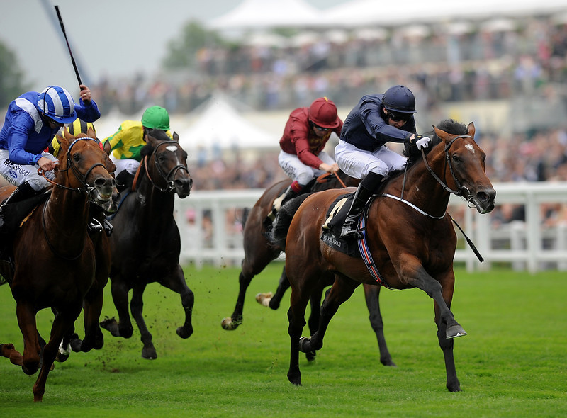 . Jospeh O\'Brien riding Declaration of War (R)  lands the Queen Anne Stakes during day one of Royal Ascot at Ascot Racecourse on June 18, 2013 in Ascot, England.  (Photo by Charlie Crowhurst/Getty Images for Ascot Racecourse)