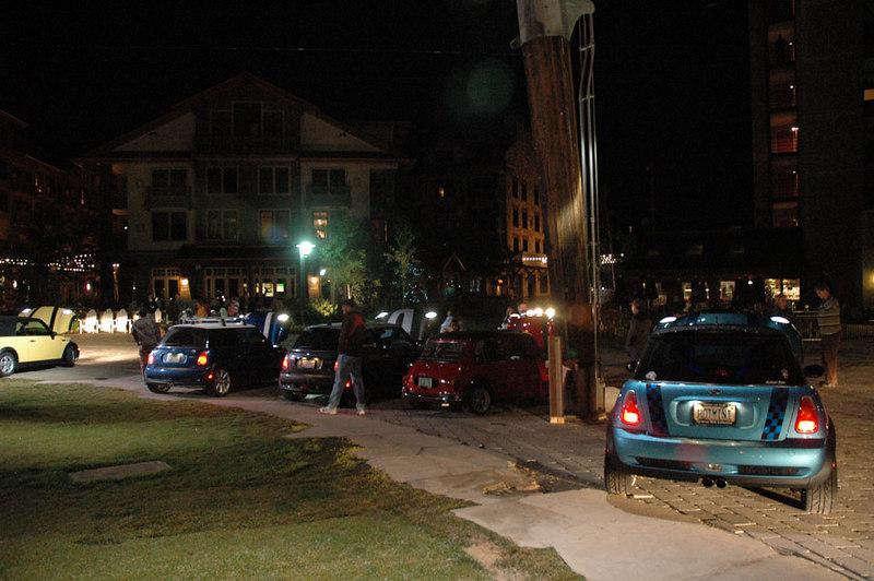 Burning Stones Plaza at night.