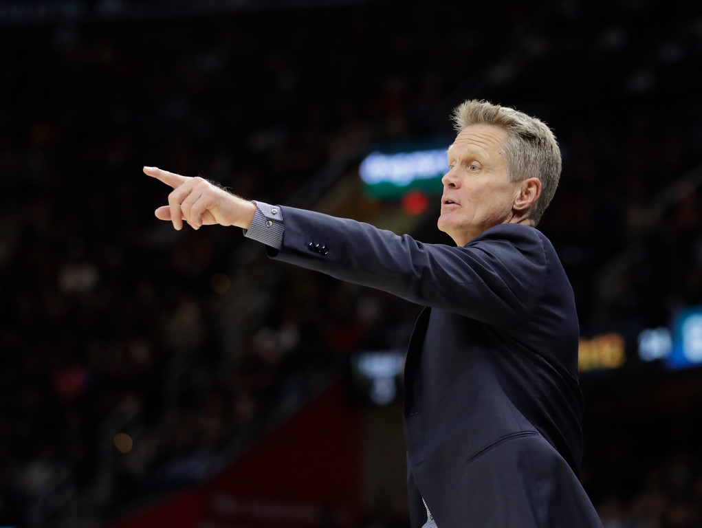 . Golden State Warriors head coach Steve Kerr calls a play in the second half of Game 3 of basketball\'s NBA Finals against the Cleveland Cavaliers, Wednesday, June 6, 2018, in Cleveland. (AP Photo/Tony Dejak)