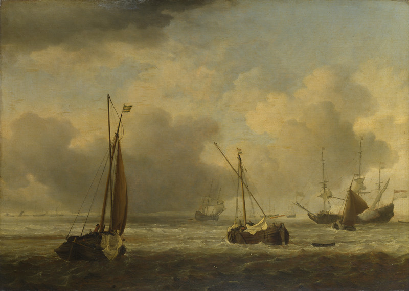 Dutch Ships and Small Vessels Offshore in a Breeze